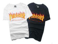 Wholesale 2016 Mens Balmain Black T shirt Printed Thrasher Top Shirts Brand Clothing Size M Xl