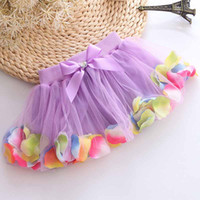 Cheap 3D Flower Tutu Dress Beading Petal Skirts Kids Cute Sweet Baby Girls Tulle Skirt Princess Cake Mini Dress Children Babies Clothes Wholesale