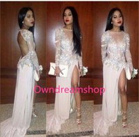 Cheap 2017 Sheer Long Sleeves Split Arabic Evening Dresses Jewel Neck Lace Appliques Sequined Keyhole Back Formal Occasion Wears Prom Party Gowns