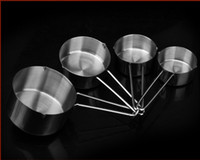 baking ingredients - 4 Solid Sturdy Stainless Steel Stackable Measuring Cups Set to Measure Dry and Liquid Ingredients for Kitchen Cooking Baking