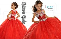Wholesale 2016 Hot Ball Gown Tulle Crystal Beaded Glitz Girls Pageant Dresses with Spaghetti Straps Floor Length Birthday Gowns Custom Made