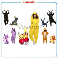 Wholesale Lovely Pikachu Fashion Yellow Outfit Pajamas Kigurumi Cosplay Costume flannel Pyjamas Onesies Adult Romper fancy dresses poke mon costumes