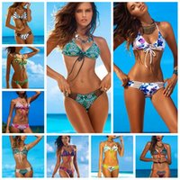 Wholesale Sexy Women Geometric Print Bikini Swimwear Retro Bandage Rope Double Side Racerback Bikini Swimsuit Girls Bathing Suit Bra Underwear PPA38
