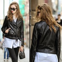 Wholesale Cheap New Arrival Women Lady Leather Jacket Outerwear Coats PU Korean Short Slim Fashion Jackets S L Size Coat