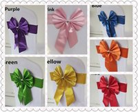 Wholesale Colodful Chair Sash for Weddings with Big Bow Santin Delicate Wedding Decorations Chair Covers Chair Sashes Wedding Accessories