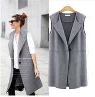 Wholesale 2016 Fashion Spring Autumn Long Vest coat Women Causal Loose Waistcoat One Button V Neck Cardigans clothes