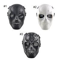 Proteger a paintball Baratos-Al aire libre esqueleto Paintball BB Full CS cara proteger máscara de los cascos de disparo espuma acolchada dentro del protector del ojo completa 2503054