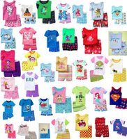 pajama - DHL style Cartoon short sleeve baby pajama set Mickey Minnie hello kitty star wars Mermaid spiderman batman baby kids sleepwear suit E963