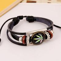 Wholesale Hot Sale Fashion Jewelry European Style Leather Bracelet Time Gem Maple Leaf Bracelet Woven Leather Men s Bracelet love bracelet for women