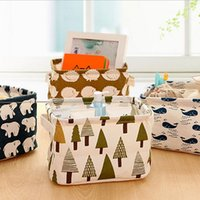 Wholesale Linen cotton fabric printed desktop storage baskets small cabinets storage basket for home office bedroom kictchen
