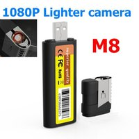 Wholesale New M8 Mini HD DVR Lighter Pinhole Cameras P Spy Hidden camera USB Mini DV Lighter DVR Camera Video Recorder Cam Camcorder Black