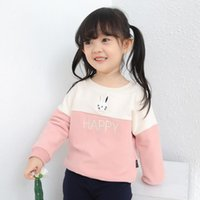 Wholesale Girls letter and rabbit embroidery T shirt Stitching color blocking pullovers Boys fahison casual tops for kids children clothing