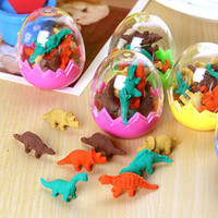 >6 years old Fruit Fantastic Wholesale-8 Pcs  Pack Erasers Hot Sale Students Stationary Gift Novelty Dinosaur Egg Pencil Rubber Eraser with egg