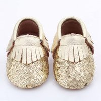 baby solid gold - Free Fedex UPS Baby fringe sequin moccs pairs infant gold yellow silver moccasins soft leather moccs toddler booties colors choose