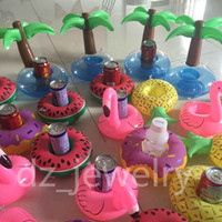 bar holders - Flamingos Donut Watermelon Lemon Pineapple Inflatable Coasters Pool Donut Floating Bar Coasters Floatation Devices Drink Holder