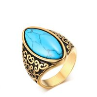 Wholesale 2016 Elegant high quality Gold women L titanium steel rings with turquoise beads For women fashion jewelry