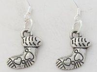 baby earrings silver - 2016 hot x30 mm Tibetan Silver Sweet Baby Heart Short Socks Charm Pendant Earrings Silver Fish Ear Hook Chandelier E456