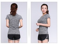 Wholesale Summer breathable women running T shirt round collar woman yoga tops breathable fitness clothes S M L
