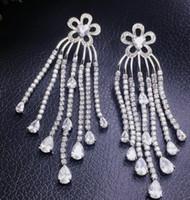 Wholesale noble silver crystal tassels women s earings cm