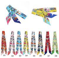 Wholesale Smallwholesales D1 D8 Colors New Design Twilly Handbag Wraps Silk Scarf