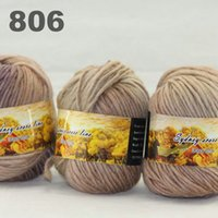 Wholesale colorful hand knitted wool line segment dyed coarse lines fancy knitting hats scarves thick line Dark Brown Sand Beige