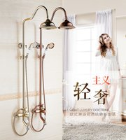 Wholesale And Retail Light Luxury Brass Shower Faucet Set Single Three Handles Tub Mixer Hand Shower