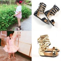 Wholesale Summer Children Girls Gladiator Sandals Black Patant Leather Zip TPR Sole Baby Walking Hard Sole Shoes y Toddler Shoes Kid Footwea