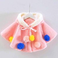 Wholesale Winter Fall Kids Ponchos with Ball Fluffy Cloak Girls Fur Coat Hooded Poncho Thick Warm Girl Outwear Infant Clothing Pink Yellw Purple