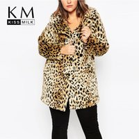 Wholesale Kissmilk Women Plus Size Leopard Fur Side Pockets XL XL XL XL Big Large Size Vintage Elegant Warm Coat
