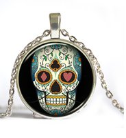 animal skull pictures - 2016 Sugar Skull Pictures Glass Cabochon Dome necklace Cross Rose Lock Flower Giant Cutout Sugar Skulls Pendant