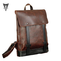 Wholesale 2015 Men Women PU Leather Vintage Backpack Fashion Leisure Male School Sport preppy style Classical Brown Rucksack bags