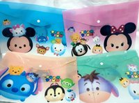Wholesale New set Popular Tsum Cartoon Stationery PVC plastic holder Office supplies A4 Folders bag For Best Gifts