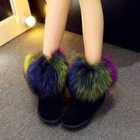 best ladies snow boots - Winter Snow Women Ankle Boots Plush Fur fashion boots colorful warm winter real leather best quality flat heel soft ankle shoes lady grils