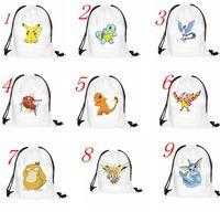 baggu canvas - Emoji Face Poke Drawstring Backpack Pocket Shopping Bag Fashion Monster Storage Bag Poke Pikachu Organizer Baggu Poke Ball Gifts Sack Bag