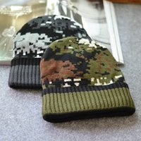 Prezzi Wool hat-Maschile di lana spessa calda dei cappelli di moda 2017 Camouflage colori sci Cap cappello caldo di alta qualità Berretti casual per uomo donna passamontagna