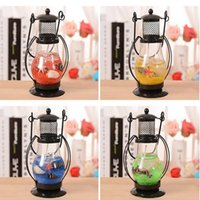 Wholesale Romantic candlelight dinner lamps and lanterns Aladdin s lamp Hanging Glass Stand Candle Holder Tea Light CandleStick Random Color