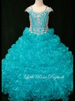 Wholesale Off The Shoulder Spectacular Organza Ball Gown Pageant Dress With Ruffles Flower Girl Dresses