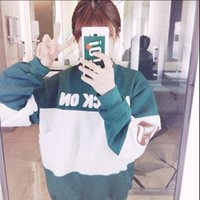 baseball institute - Korean Version Of Women s Institute Of Wild Winds Baseball Clothing Loose Commuter Long sleeved Round Neck Casual Jacket Sweater