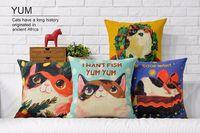 art wanted - I WANT FISH YUM YUM Cute Cats Cartoon Pillow Massager Decorative Art Painting Neck Euro Case Pillows Home Decor