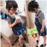 Compra Faldas de jean-demin algodón del bebé de la falda 4-10Y recta de color azul los niños del resorte niños falda de Jean con el agujero de ajuste a cabo