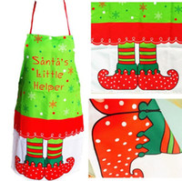 Wholesale 2016 New Cloth Apron Ornament For Kitchen Tableware Christmas Costume Santa Little Helper Navidad Decoration