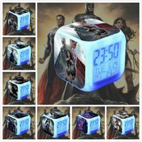Wholesale 15 design Hottoys HT BVS digital Alarm LED Clock Light Control Backlight Thermometer Movie Character batman Alarm Clock