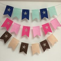 Wholesale Freeshipping Meter Non woven Felt Star Two corner flag Birthday Party Wedding Party color Decoration Banner Bunting