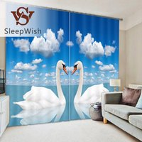 Wholesale SleepWish Swan Curtain D Printed Beautiful Window Curtain Living Room x160cm x270cm Curtains for Home