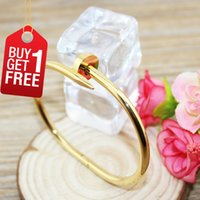fashion jewelry boxes - Nail Bracelet Yellow Gold Nail Cuff Bangles Fashion Jewelry Brand Women Men L Titanium Steel And K Gold Plated With Box Set