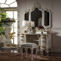antique french provincial tables - French Royalty Classic furniture French provincial classic solid wood furniture cracking paint dressing table and mirror