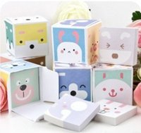 Wholesale Stationery cartoon animal box small square memo pad note paper Creative lovely post it notes