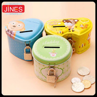 Wholesale 4pcs Cute piggy bank funny lovely money box With lock and key High qulity Metal cartoon Birthday gift Bedroom living room desk