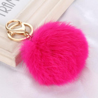 Wholesale Cute Fur Ball Keychain fluffy keychain fur pom pom llaveros portachiavi porte clef Key Ring Key Chain For Bag DHL free ship