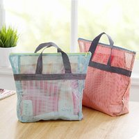 beach cosmetic bag - Hot Sale Multifunctional Portable Travel Beach Bag Shopping Bag Sports Mesh Wash Bag Cosmetic Makeup Tote Zipper Storage Bag ZD0093
